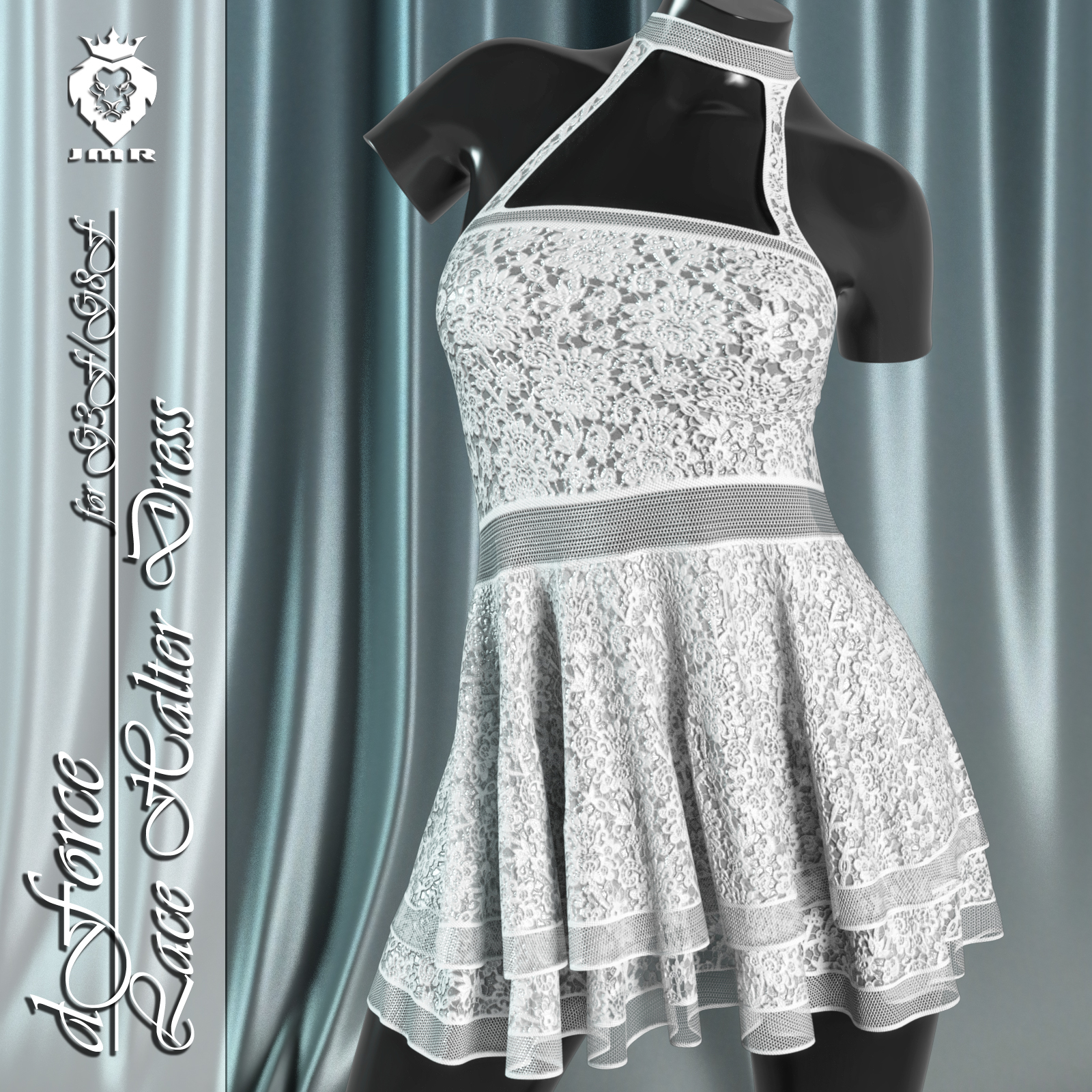 JMR dForce Lace Halter Dress for G3F and G8F