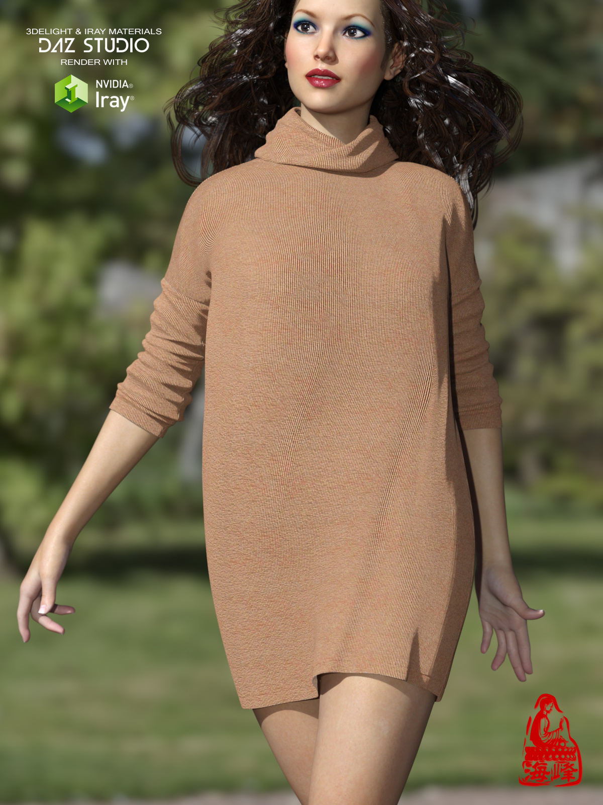 Turtleneck for Genesis 3 Females