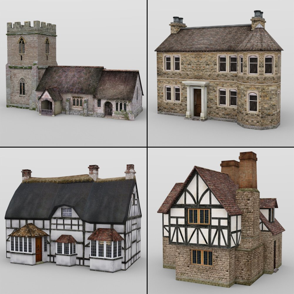Low Poly Buildings for DAZ Studio