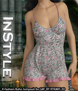 InStyle - X-Fashion Boho Jumpsuit for Genesis 8 Females 3D Figure Assets -Valkyrie-