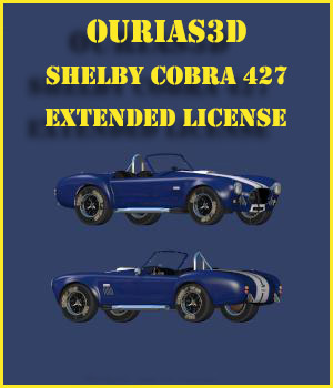 Shelby Cobra 427 - Extended License 3D Game Models : OBJ : FBX Extended Licenses Ourias3D