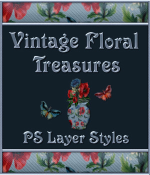 Vintage Floral Treasures PS Layer Styles 2D Graphics Merchant Resources fractalartist01
