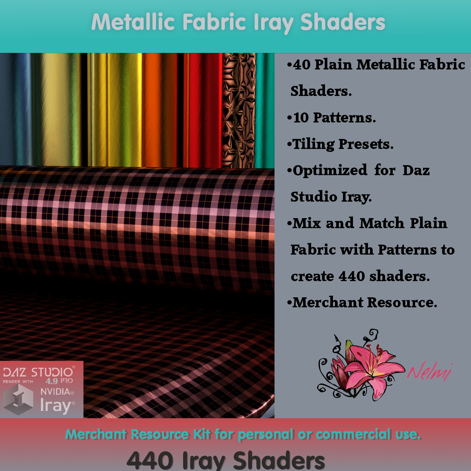 Metallic Fabric Iray Shaders - Merchant Resource