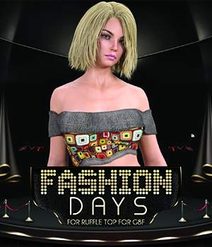 Fashion Days for OOT Ruffle Top G8F 3D Figure Assets 3DLoki