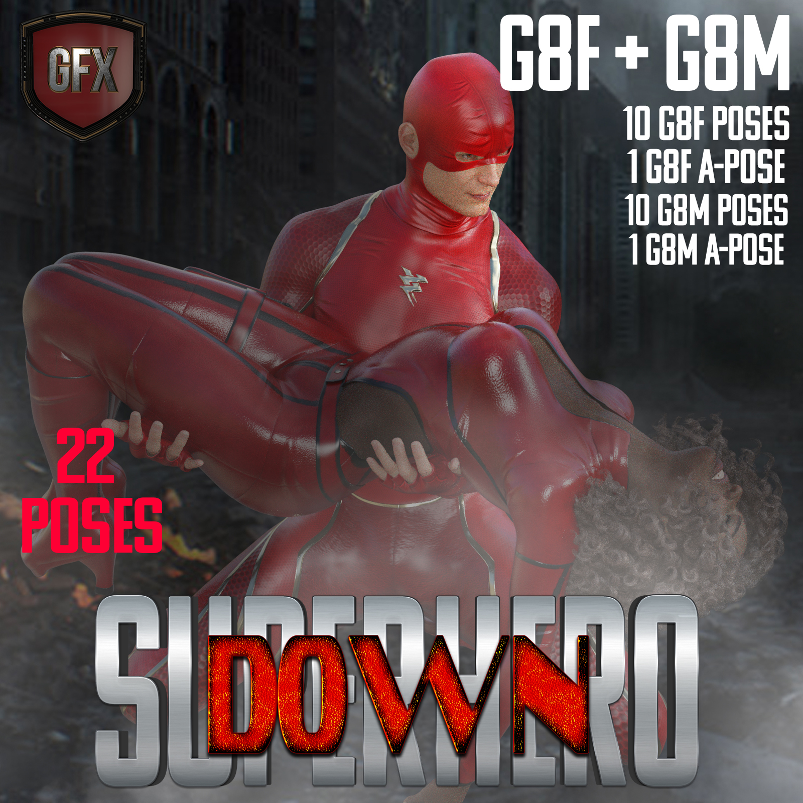 SuperHero Down for G8F and G8M Volume 1 by GriffinFX