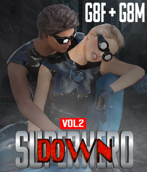 SuperHero Down for G8F and G8M Volume 2 3D Figure Assets GriffinFX