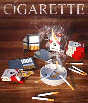 Cigarette for G3F and G3M 3D Models Xile3D