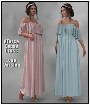 dForce -  Long Gypsy Dress for G8F 3D Figure Assets Lully