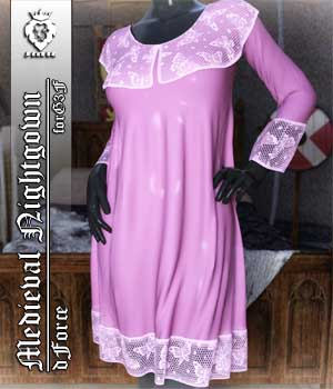 JMR dForce Medieval Nightgown for G3F 3D Figure Assets JaMaRe