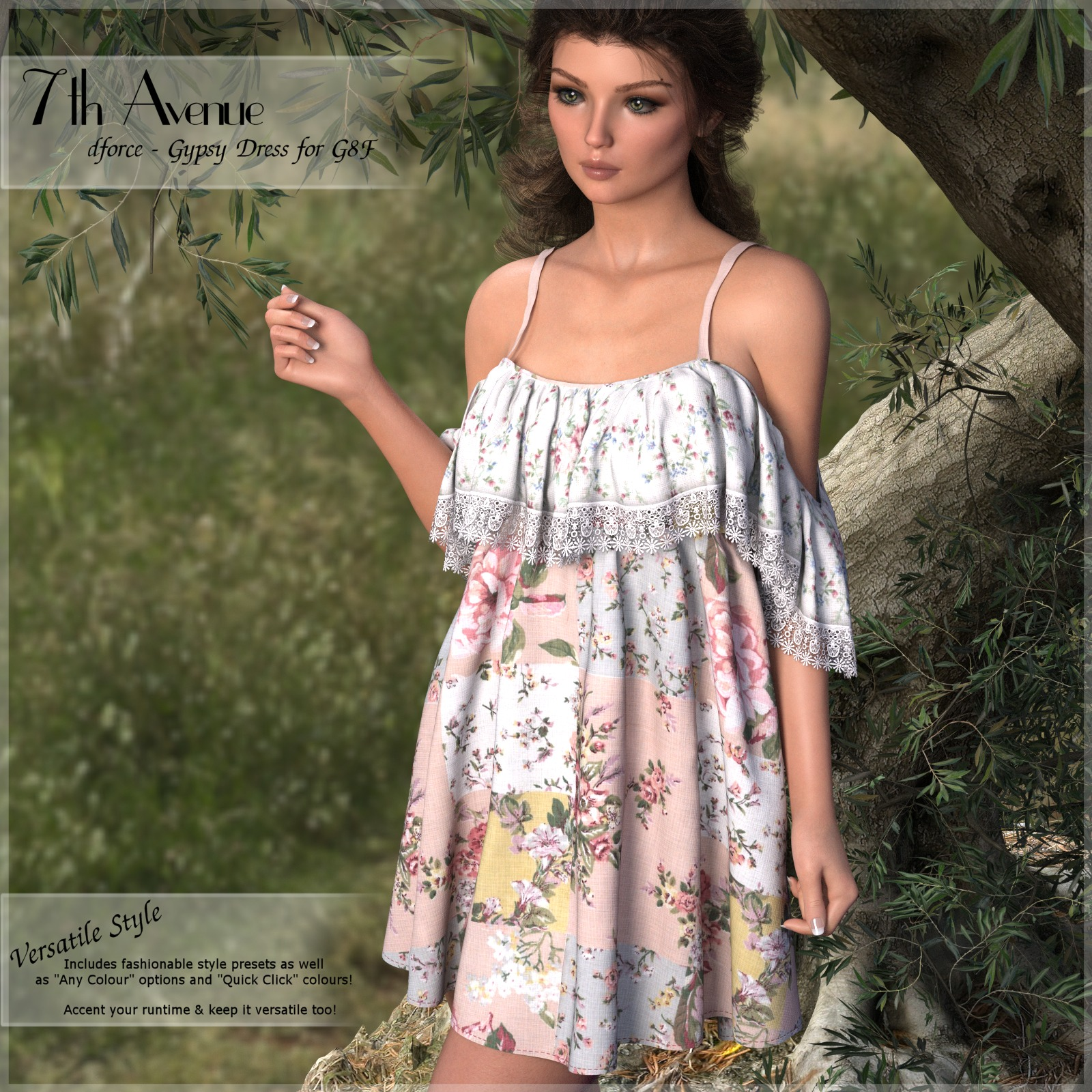 7th Ave: dForce - Gypsy Dress for G8F by 3-DArena