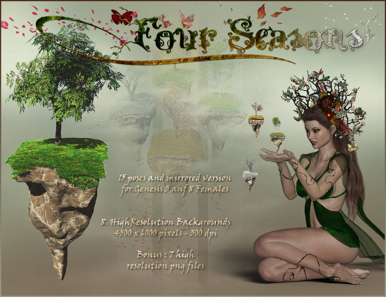 Four Seasons - Backgrounds and Poses for Genesis 3 and 8 Females
