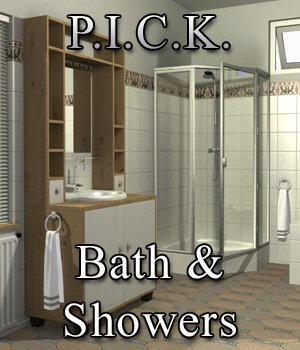P.I.C.K. Bath and Shower Expansion Set for Poser 3D Models VanishingPoint