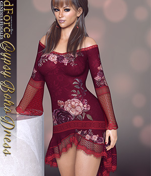 dForce Gyspy Boho Dress for Genesis 8 Females 3D Figure Assets lilflame