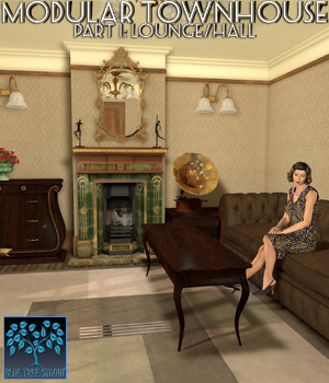 Modular Townhouse 1: Lounge for Poser 3D Models BlueTreeStudio