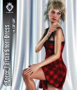 JMR dForce Tartan Short Dress for G3F and G8F 3D Figure Assets JaMaRe