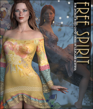 Free Spirit for dForce Boho Gypsy Dress G8F 3D Figure Assets Sveva