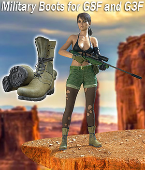 Slide3D Military Boots for G8F and G3F 3D Figure Assets Slide3D