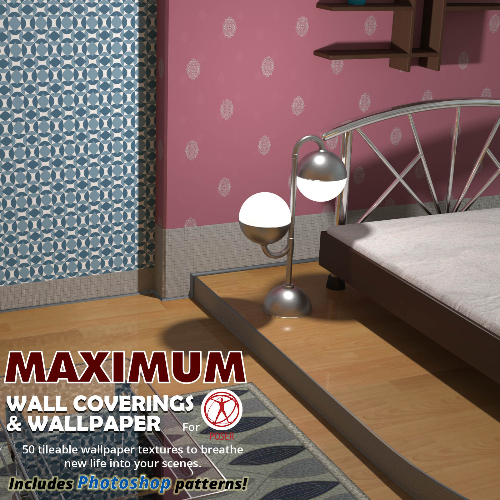 Maximum wall coverings and wallpaper for Poser