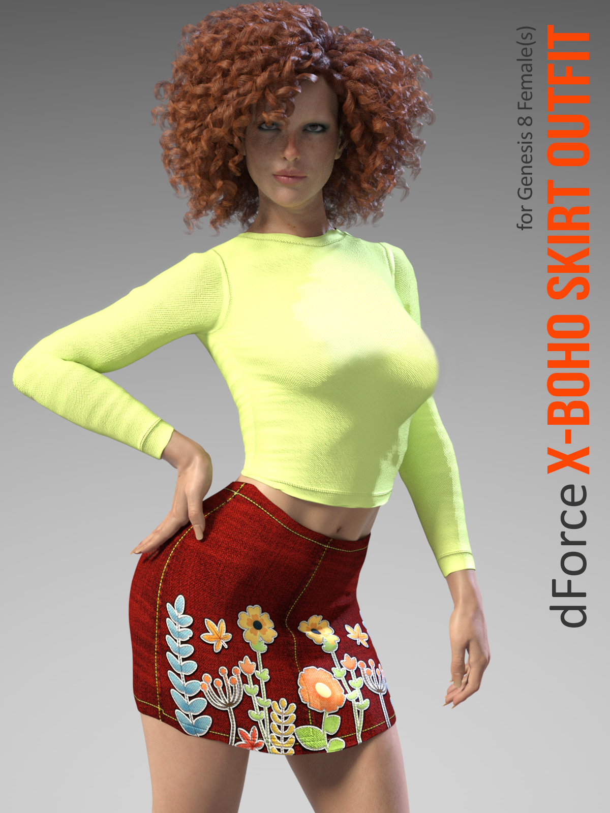 X-Fashion Boho Skirt Outfit for Genesis 8 Females