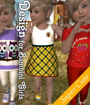Design for Bambini Girls K4_Poser 3D Figure Assets JudibugDesigns