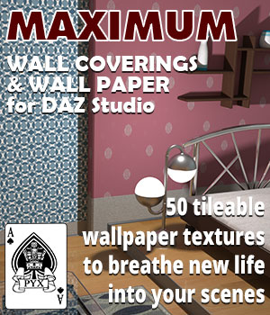 Maximum wall coverings and wallpaper for DAZ Studio 2D Graphics 3D Figure Assets AcePyx