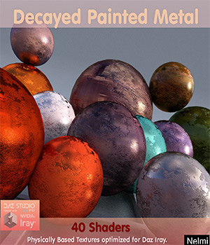 40 Decayed Painted Metal Iray Shaders - Merchant Resource 3D Figure Assets Merchant Resources nelmi