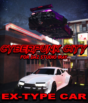 Cyberpunk City EX-TYPE Car for DS Iray 3D Models powerage