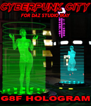 Cyberpunk City G8F Hologram for DS Iray 3D Figure Assets 3D Models powerage