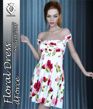 JMR dForce Floral Dress for G3F and G8F 3D Figure Assets JaMaRe