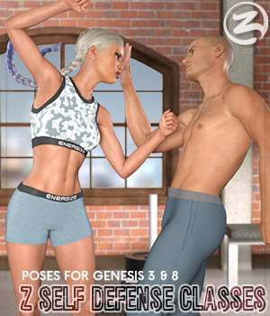 Z Self Defense Classes - Poses for the G3F-G8F 3D Figure Assets Zeddicuss