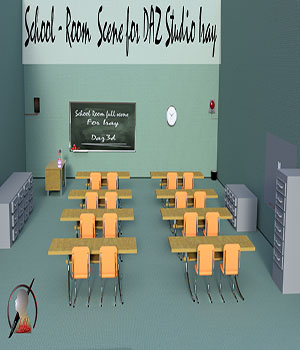 School Room full scene for DAZ Studio Iray 3D Models kalhh