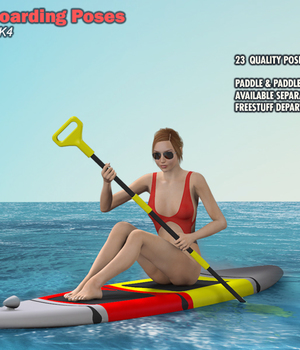 Paddleboarding Poses 3D Figure Assets shed_e