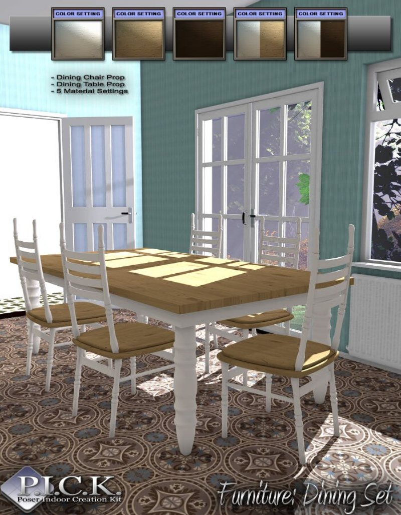 P.I.C.K. Dining Set and French Doors for Poser