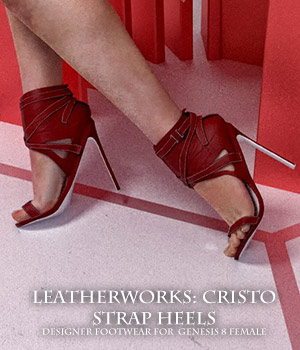 Leatherworks: Cristo Strap Heels for G8F 3D Figure Assets sixus1