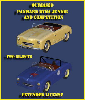 Panhard Dyna Junior and Panhard Dyna Junior competition - Extended license 3D Game Models : OBJ : FBX 3D Models Extended Licenses Ourias3D
