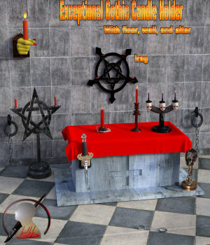 Exceptional Gothic Candle Holder scene for Daz3d Iray 3D Models kalhh