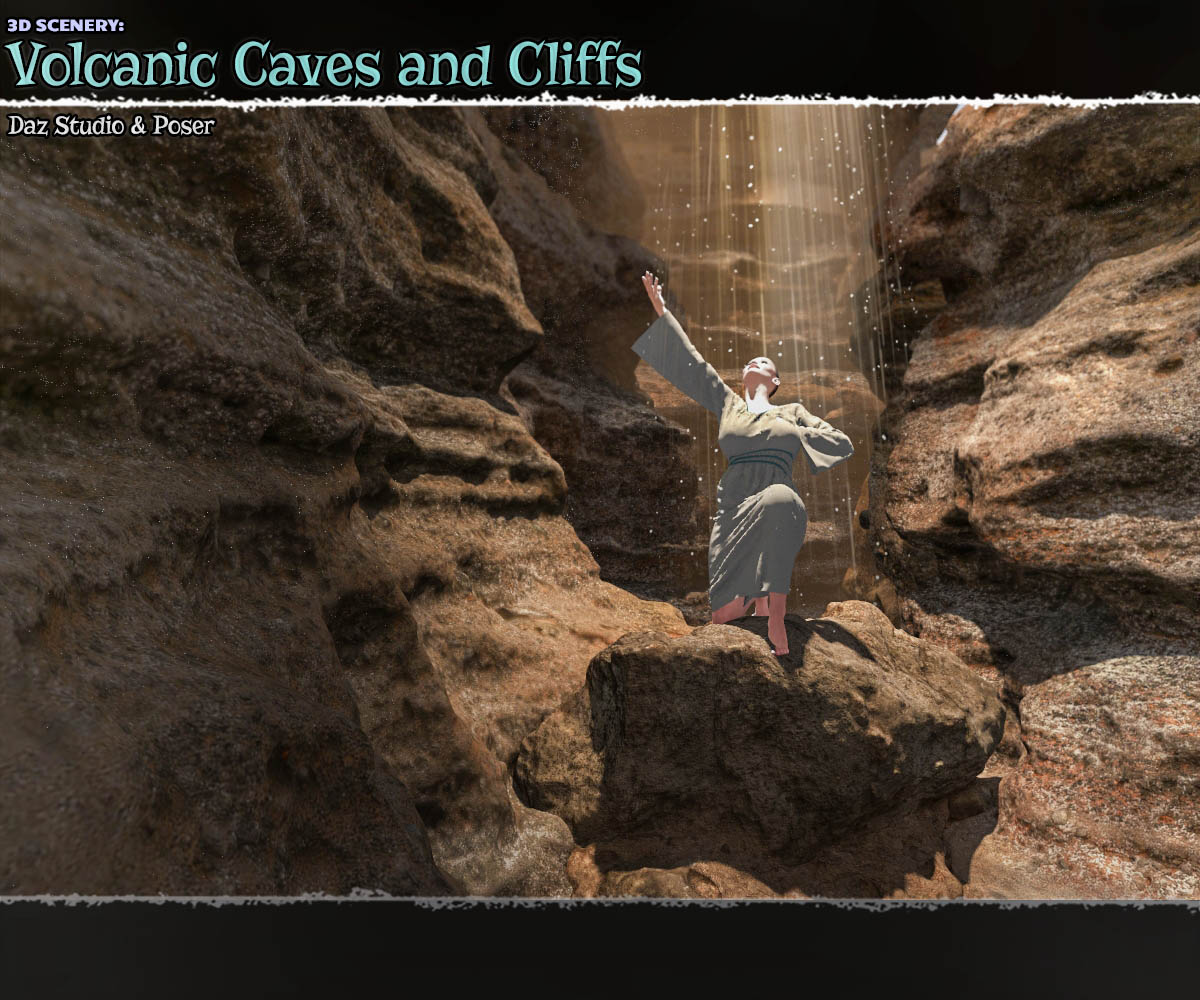 3D Scenery: Volcanic Caves and Cliffs for Poser and Daz Studio