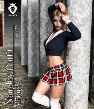 JMR dForce Naughty Outfit for G3F 3D Figure Assets JaMaRe