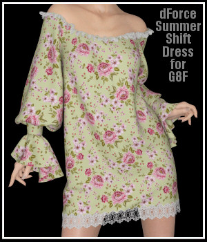 dForce - Summer Shift Dress for G8F 3D Figure Assets Lully