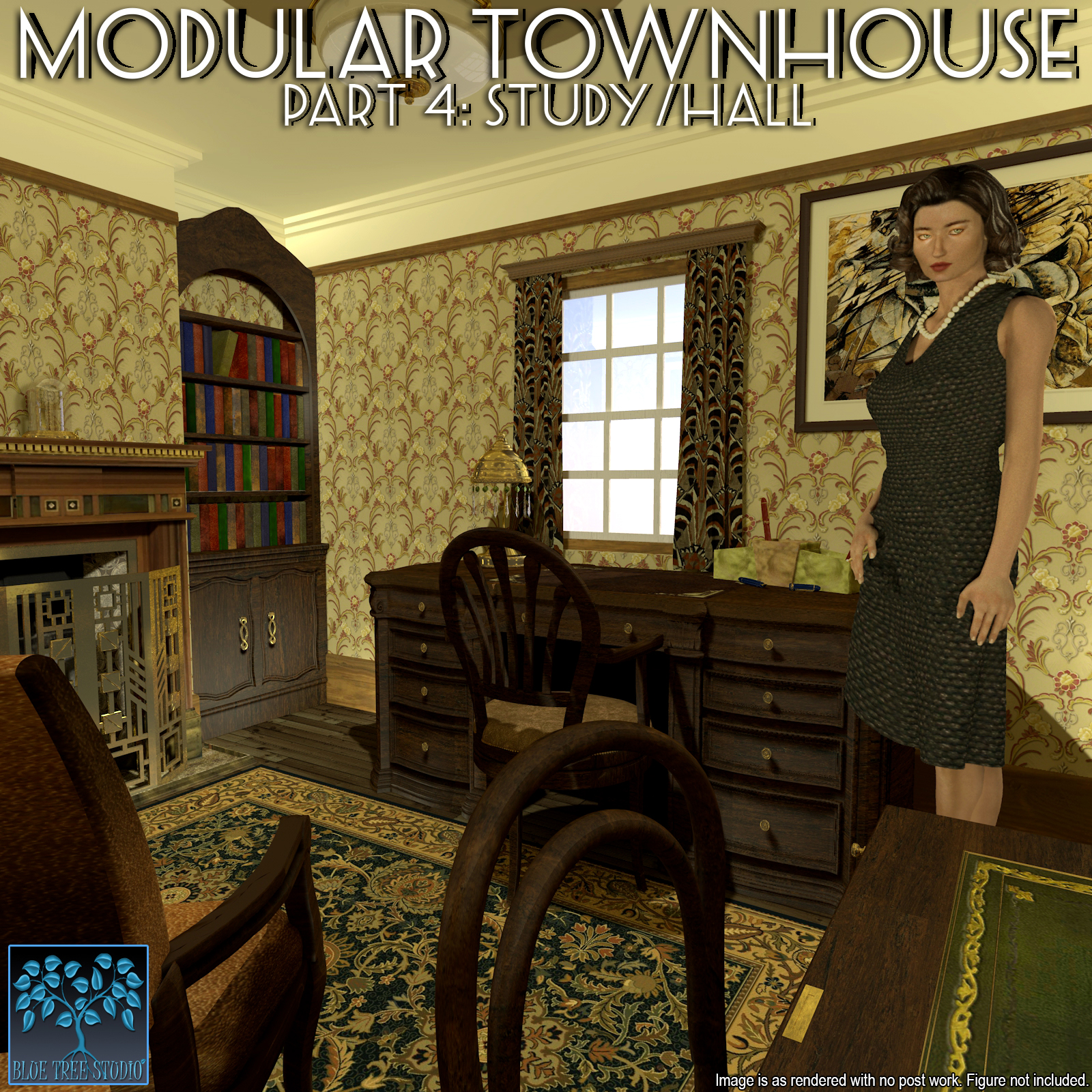 Modular Townhouse 4: The Study for Poser by BlueTreeStudio