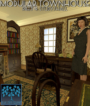 Modular Townhouse 4: The Study for Poser 3D Models BlueTreeStudio