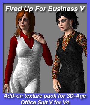Fired Up For Business V - texture add on for 3D-Age Office Suit V for V4. 3D Figure Assets fireangel