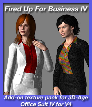 Fired Up For Business IV - texture add on for 3D-Age Office Suit IV for V4. 3D Figure Assets fireangel