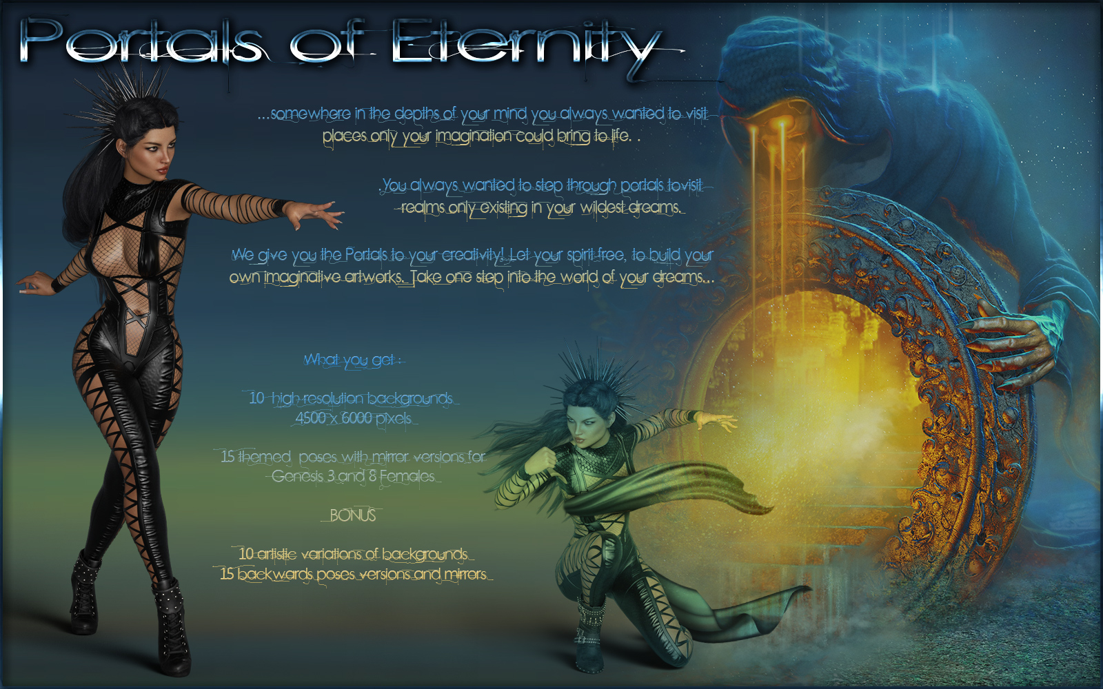 Portals of Eternity-Poses and Backgrounds for G3F and G8F by ilona