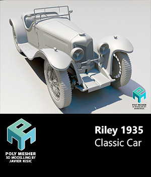 Riley 1935 Classic Car -Extended Licence 3D Game Models : OBJ : FBX 3D Models Extended Licenses PolyMesher