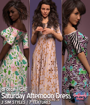 Vex3DS Saturday Afternoon Dress Genesis 8 Female(s) 3D Figure Assets 3DSublimeProductions