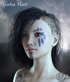 Prae-Nisha Hair For G3 and G8 Daz 3D Figure Assets prae