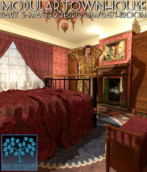 Modular Townhouse 5: Master Bedroom for Poser 3D Models BlueTreeStudio