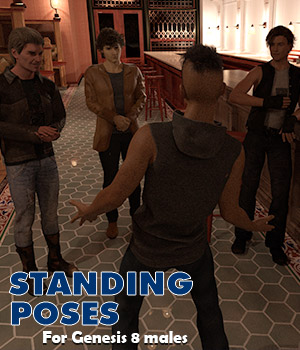 Standing poses for Genesis 8 male 3D Figure Assets AcePyx