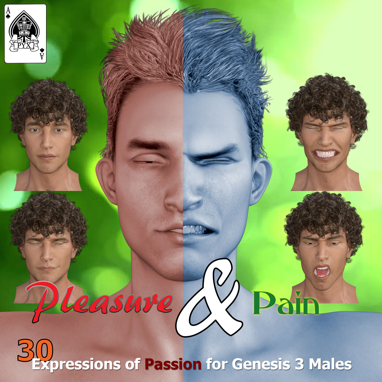 Pleasure and Pain - Expressions for Genesis 3 Male by AcePyx